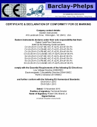 CentriFlow CE Certificate of Conformance